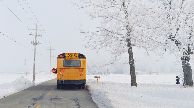 Picture of a school bus in a winter environment