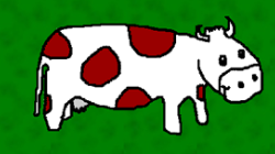 Cartoon of a cow. Click for an educational website.