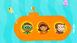 Cartoon of kids in a submarine. Click for an education website.