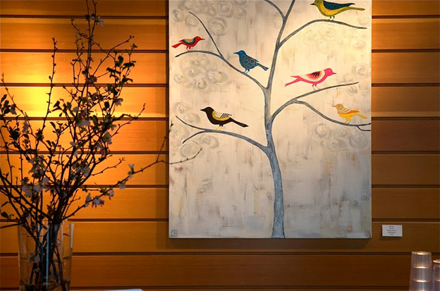 picture of a painting with birds on tree limb