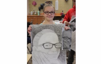 Students and their art work
