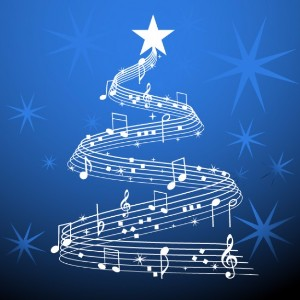 Musical notes and symbols in the shape of a Christmas tree.