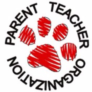 Parent Teacher Organization logo with a red cougar paw in the center.