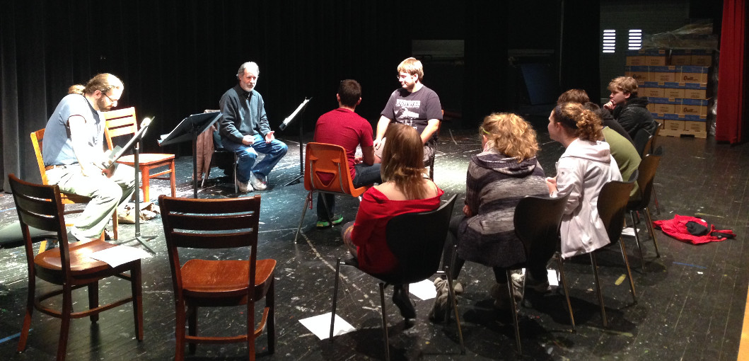 Students work with Chester Theatre Company Artistic Director Byam Stevens.