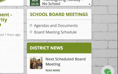 screenshot of homepage indicating where to find board meeting documents