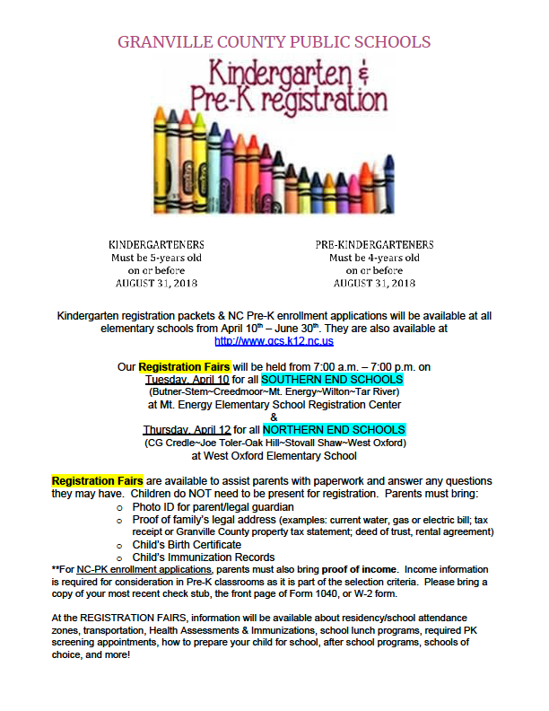 2018-2019 Pre-K and Kindergarten Registration
