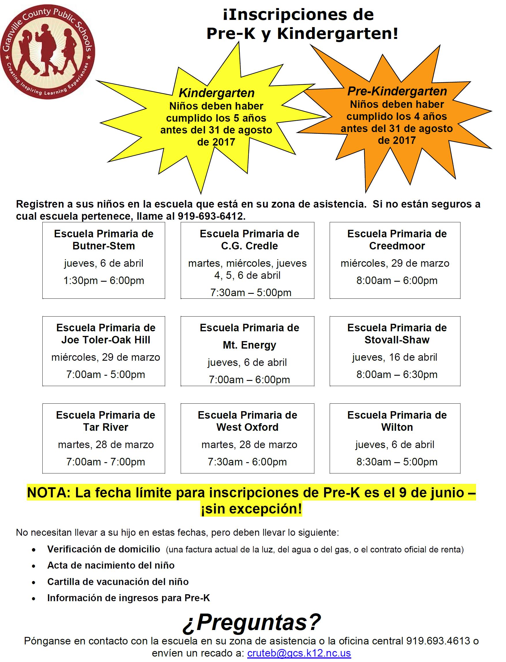 2017-2018 Pre-K and Kindergarten Registration (Spanish Version)