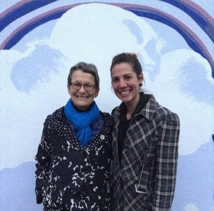 Art Teacher Rachel Evancavich (right) poses with Oxford Mayor Jackie Sergent (left)