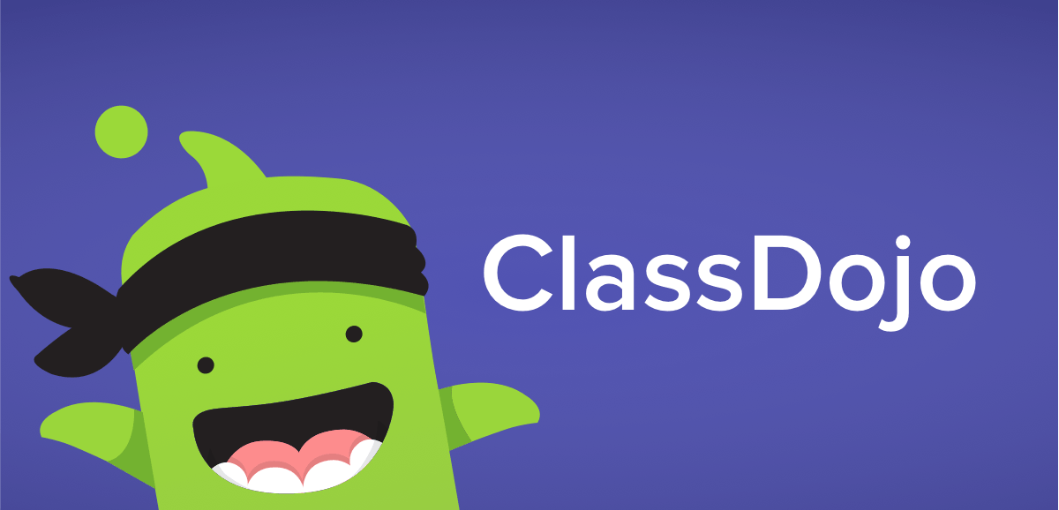 Class Dojo Mascot Green Monster and the words Class Dojo in white font