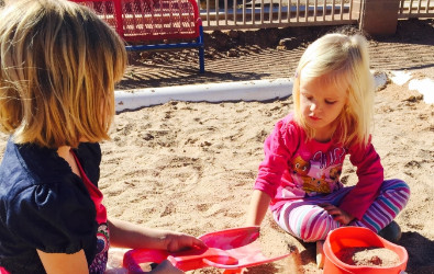 PreSchool students playing in the sand