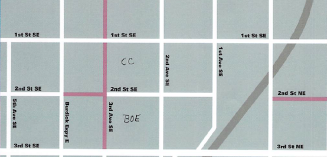 Map of closed roads by Central Campus (CC) and Board of Education (BOE).