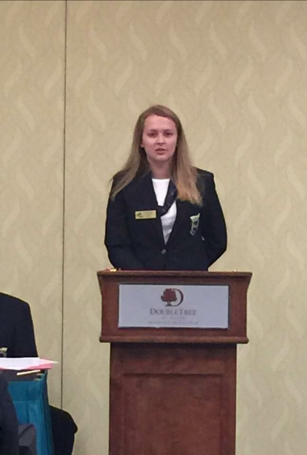 Maggie McComas presents at State FBLA Meeting