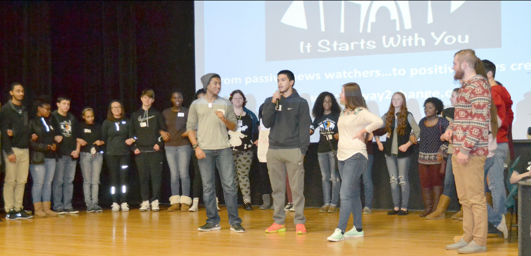 UCHS students and their peers from Fox and Ritenour high schools on stage during the January 27 Student Summit on Race at the University of Missouri - St. Louis.