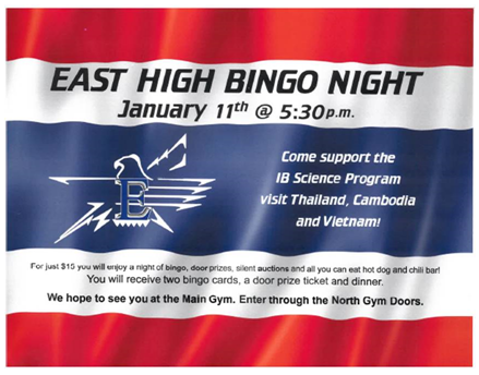 East High Bingo night image containing the same information as in the post.