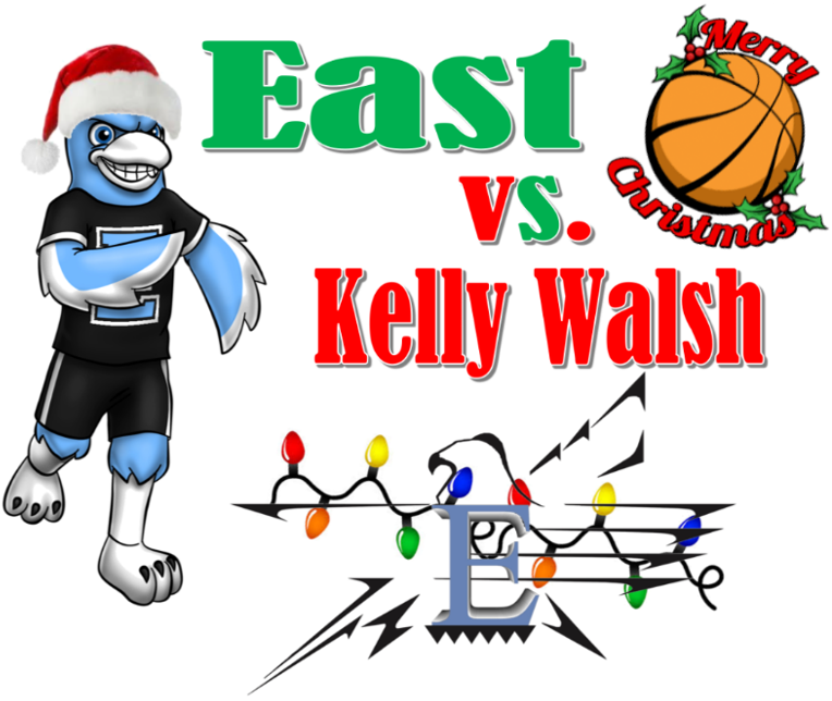 Ugly Sweater announcement. East TBird mascot and game announcement picture.