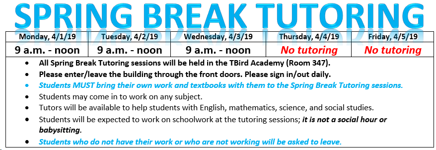 Spring Break tutoring schedule graphic.  Has same information as accompanying text.