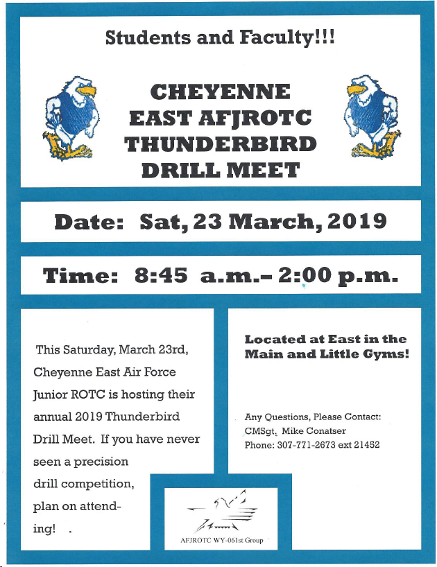 East AFJROTC Thunderbird Drill meet flier for Saturday, March 23, 8:45 am to 2 pm in the gyms.