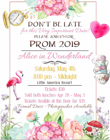 Prom 2019 poster with same information as in the text above.