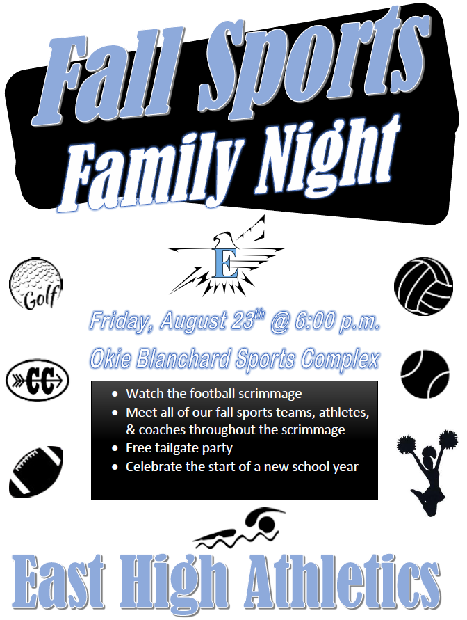 Family Sports Night/Tailgate Party, Aug. 23, Okie Blanchard Stadium