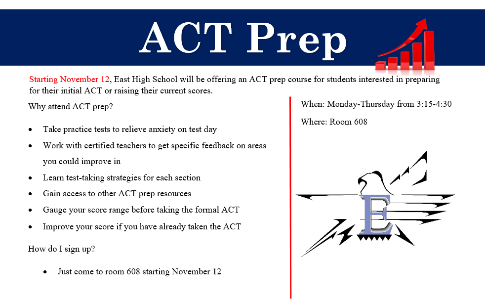 ACT Prep: Monday-Thursday, 3:15-4:30 p.m., Room 608