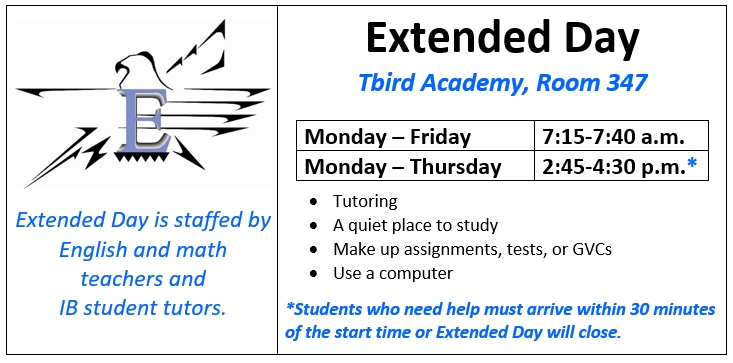 East High School Extended Day schedule