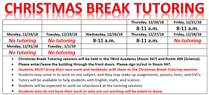 Christmas Break Tutoring: 12/20, 21, 26, 27, 8-11 a.m.