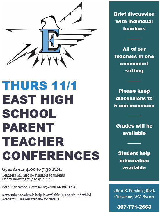 Parent Teacher Conferences 11/1, 4-7:30 p.m., Gym areas