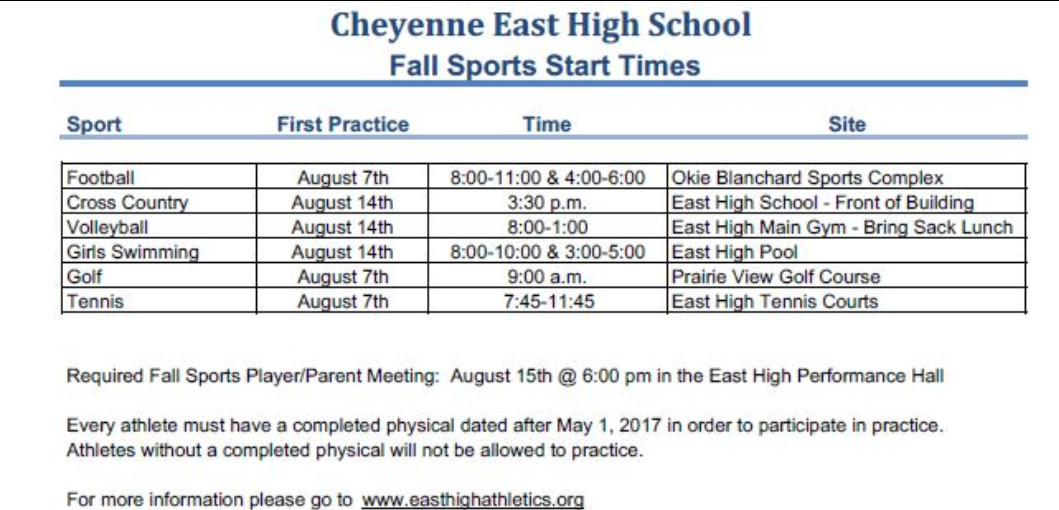 Table with the start times for the Fall Sports.