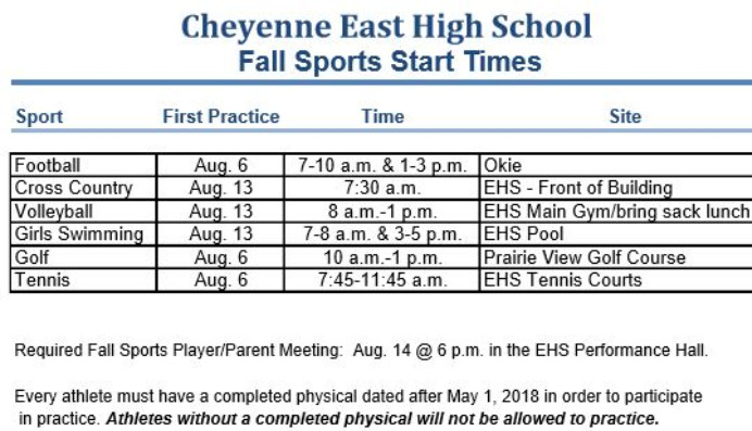 Fall sports start times image. Click the link below for full details.