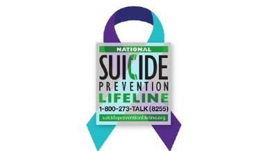 Suicide Prevention Lifeline graphic and link.