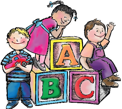 Cartoon of pre-school kids on oversized ABC blocks with a link to preschool information.