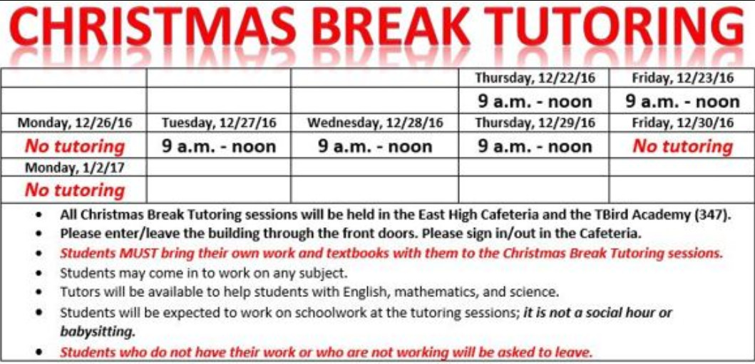 Graphic of the Christmas Break tutoring schedule.
