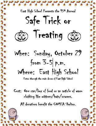 Image of flier for 15th Annual Safe Trick or Treat, Oct. 29, 3-5 p.m. @ East.