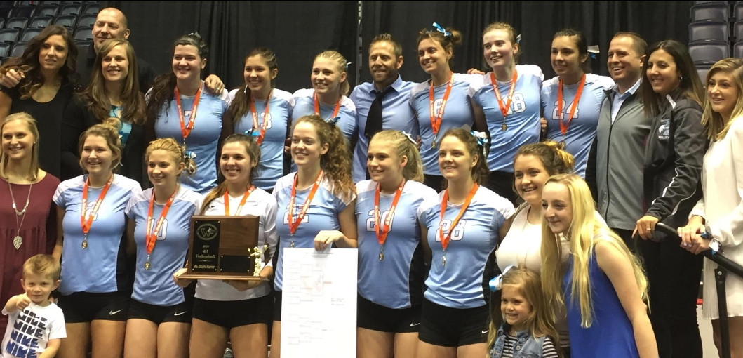 Team photo of the state champion East High Lady T-Birds Volleyball team.