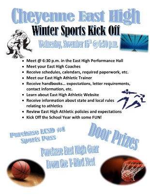 Image of flier Winter Sports Kickoff, Nov. 16 @ 6:30 pm, Performance Hall.