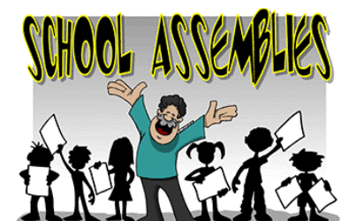 Cartoon of a school assembly