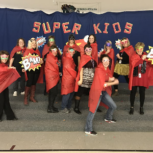 Photo of students dressed as super heroes.