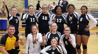 HAMSHIRE-FANNETT TOURNAMENT- The Freshman and JV volleyball teams took 1st and 3rd respectively at the Hamshire-Fannett tournament.