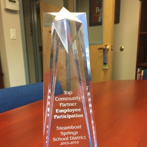 Routt County United Way Top Community Partner Employee Participation Award - September 29, 2016