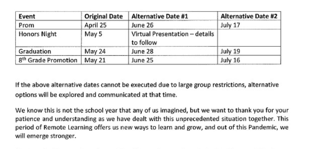 Alternative Schedule for End of the year events