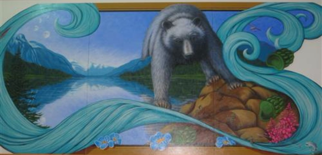 Hallway Art in the Middle School. This is a Fishing Bear painting