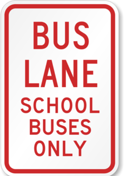 picture of sign that says school buses only