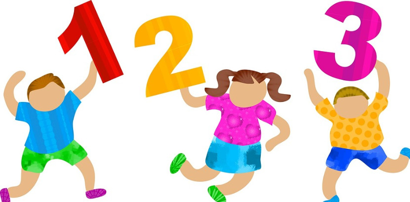three children with numbers