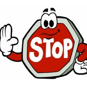Cartoon of an animated stop sign telling people not to park in the bus lane.