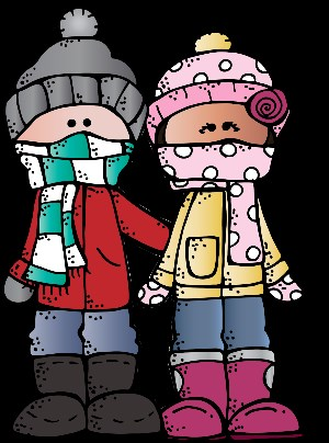 Cartoon on children bundled up.