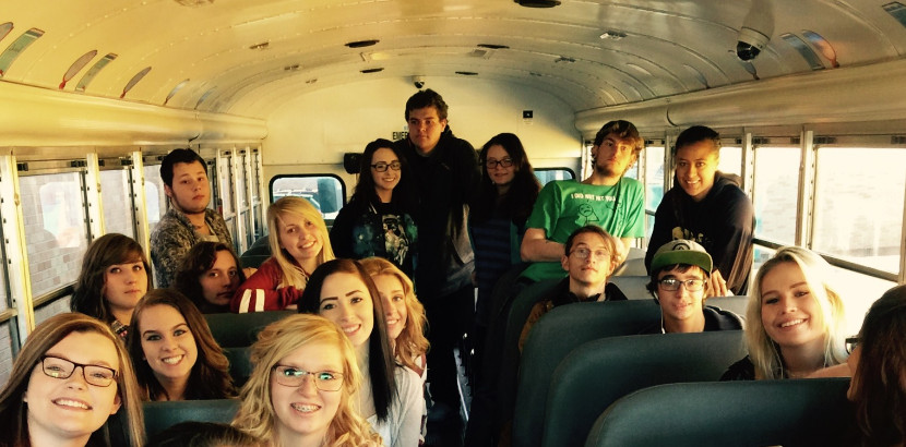 Bus taking students to college fair