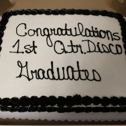 Cake at Disco Graduation Celebration