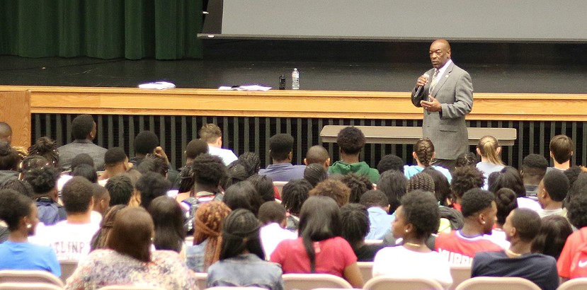 Dr. Jordan meets with seniors to prepare for life after high school