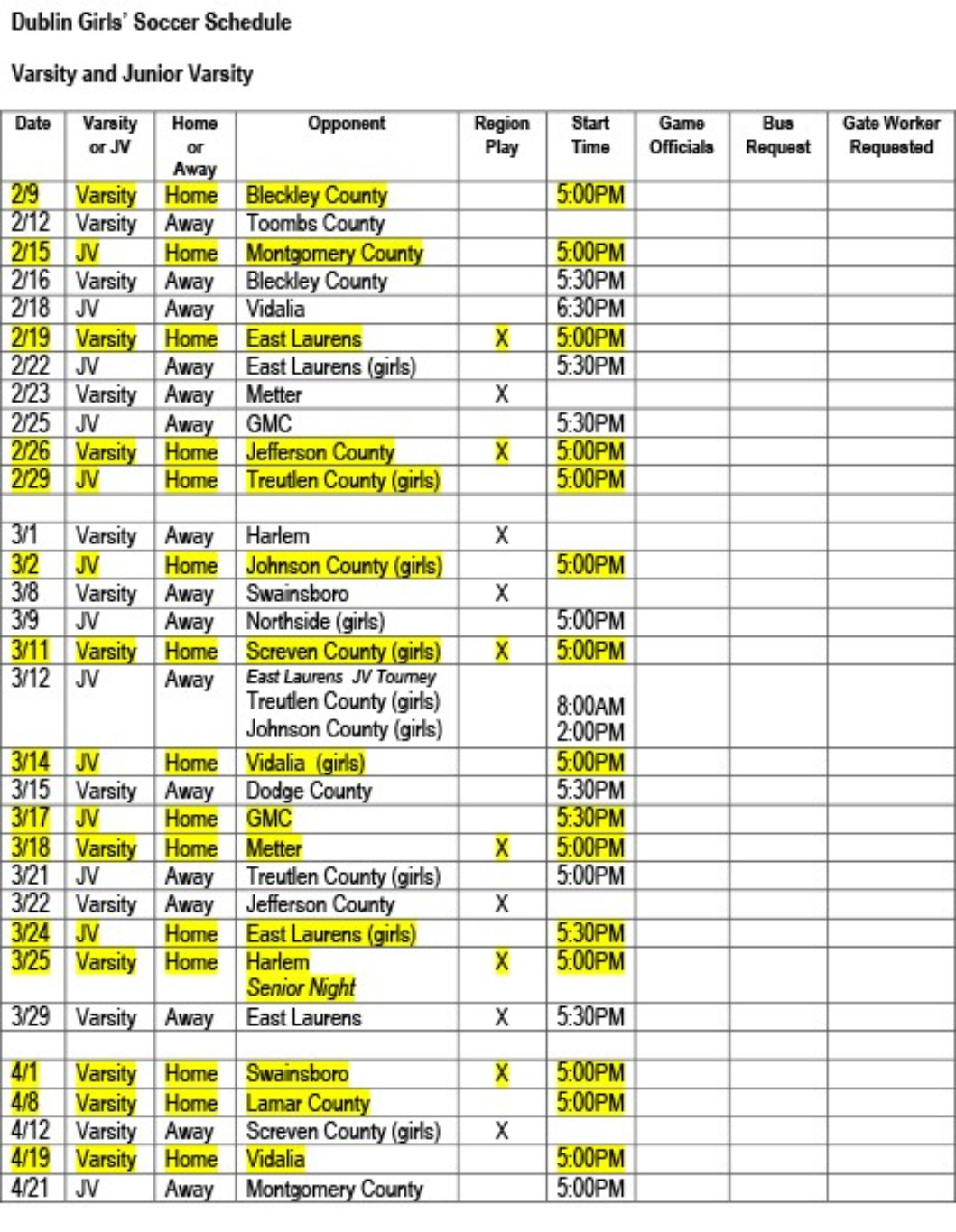 DHS RELEASES 2016 SOCCER SCHEDULE