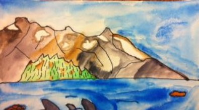 Student watercolor of Alaskan landscape